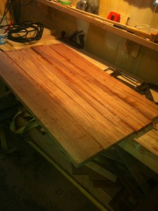 Glued up transom ready for flattening